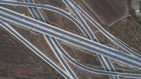 Satellietbeeld van weg en viaduct Wegverbinding, de hoogste mening van de wegkruising royalty-vrije stock afbeeldingen