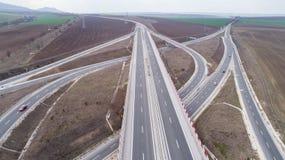 Satellietbeeld van weg en viaduct Wegverbinding, wegkruising royalty-vrije stock afbeelding