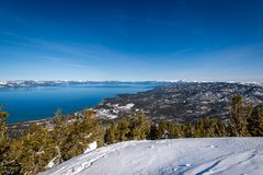 Satellietbeeld van Zuidenmeer Tahoe stock afbeelding