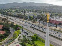 Satellietbeeldbovenkant van San Diego California Temple stock fotografie
