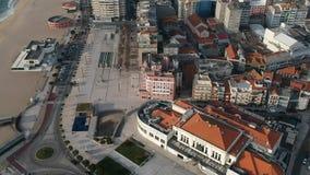 Satellietbeeldcityscape van Povoa DE Varzim, Portugal stock videobeelden