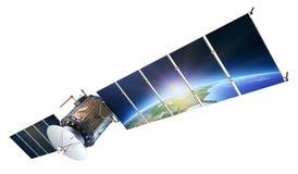 Satellietcommunicatie die met aarde in zonnepanelen i een weerspiegeling vormen van Royalty-vrije Stock Foto