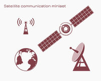 Satellietcommunicatie miniset Vector Illustratie