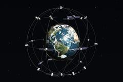 Satellieten en aarde Stock Foto