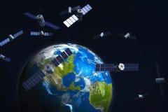 Satellieten en aarde Stock Afbeeldingen