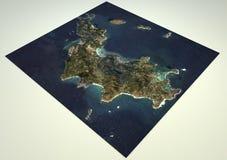 Satellietmening heilige-Barthélemy, kaart, 3d sectie Royalty-vrije Stock Foto's