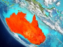 Satellietmening van Australië in rood Royalty-vrije Stock Foto