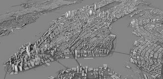 Satellietmening van de stad van New York, kaart, 3d gebouwen, het 3d teruggeven vector illustratie