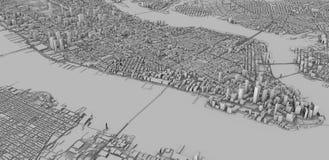 Satellietmening van de stad van New York, kaart, 3d gebouwen, het 3d teruggeven stock illustratie