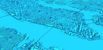 Satellietmening van de stad van New York, kaart Straten en wolkenkrabbers De V.S. stock illustratie
