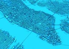 Satellietmening van de stad van New York, kaart Straten en wolkenkrabbers De V.S. vector illustratie