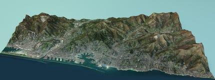 Satellietmening van de stad van Genua, Ligurië Italië Stock Foto
