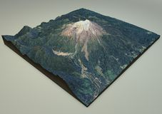 Satellietmening, Vulkaan, Calbuco, Chili, kaart, 3d sectie Stock Fotografie