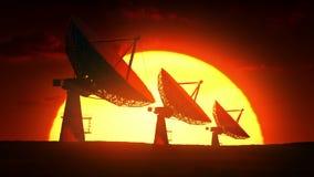 Satellietschotels bij zonsopgang royalty-vrije illustratie