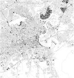 Satellit- översikt av Ho Chi Minh, Vietnam, stadsgator royaltyfri illustrationer