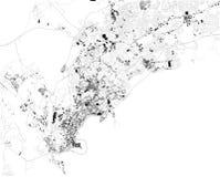 Satellit- översikt av Panama City, Panama, stadsgator royaltyfri illustrationer
