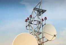 Satellit- antenn på taket Royaltyfri Bild
