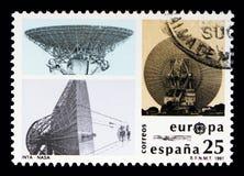 Satellit- antenner, EUROPA, Europa i utrymme, Europa (C E P T ) s Royaltyfri Foto