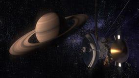 Satellit- Cassini att närma sig Saturn Cassini Huygens är ett obemannat rymdskepp som överförs till planeten Saturn Cg-animering Royaltyfri Foto