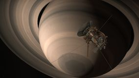 Satellit- Cassini att närma sig Saturn Cassini Huygens är ett obemannat rymdskepp som överförs till planeten Saturn Cg-animering  Arkivbild
