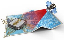 satellit 3d stock illustrationer
