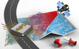 satellit 3d vektor illustrationer