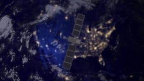 Satellit för bevakningspiontelekommunikation över Nordamerika royaltyfri illustrationer