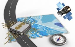 satellit- gps 3d stock illustrationer