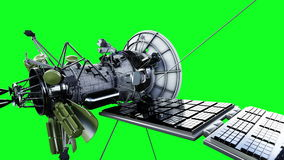 Satellit i avstånd Högt detaljerad realistisk rörelse och reflexion skärmanimering för gräsplan 4K stock illustrationer