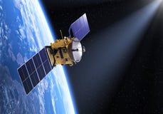 Satellit i Ray Of Light Royaltyfri Bild