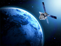 Satellit i utrymme Arkivbild