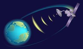 Satellit- kretsa kring jord som vidarebefordrar kommunikationer Arkivfoto