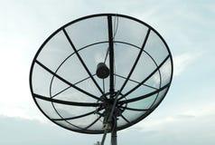 Satellit- maträtt med bakgrund för blå himmel Royaltyfria Bilder