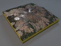 Satellit- sikt av det Mount Aso avsnittet, vulkan, Japan royaltyfri illustrationer