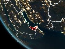 Satellit- sikt av Förenade Arabemiraten på natten Royaltyfri Fotografi
