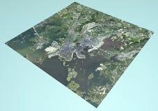 Satellit- sikt av Helsingfors, Finland, översikt, avsnitt 3d Royaltyfri Foto