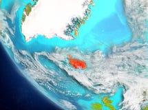 Satellit- sikt av Island i rött Arkivbild