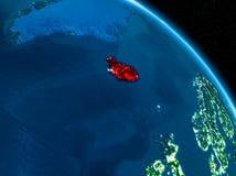Satellit- sikt av Island på natten Royaltyfri Fotografi