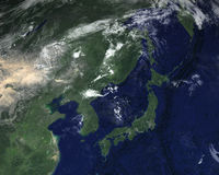 Satellit- sikt för Japan utrymme, Asien Royaltyfri Fotografi