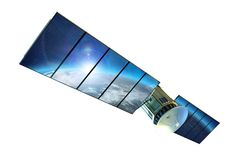Satellit som isoleras på vit Arkivfoto