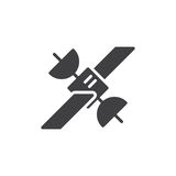 Satellit- symbolsvektor stock illustrationer
