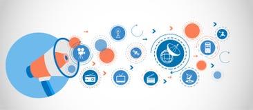 Satellit- teknologibegreppssymbol Detaljerade uppsättningsymboler av massmediabeståndsdelsymbolen Högvärdig kvalitets- grafisk de royaltyfri illustrationer