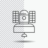 Satellite, émission, radiodiffusion, communication, ligne de télécommunication icône sur le fond transparent Vecteur noir d'ic?ne illustration de vecteur