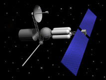 Satellite. Communications/exploration space atellite with stars in background Stock Image
