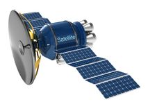 Satellite. Model of an artificial satellite of the earth on a white background vector illustration
