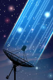 Satellite. Dish under starry night sky Royalty Free Stock Photo
