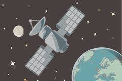 Satellite vector. Illustration of a scientific satellite in orbit + vector eps file Royalty Free Stock Photos