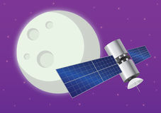Satellite. A satellite with moon or planet in the background Royalty Free Stock Photo