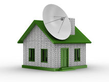 Satellite aerial on house. Isolated 3D image Royalty Free Stock Photos
