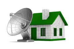 Satellite aerial and house on white background. Isolated 3D illu. Stration Stock Image